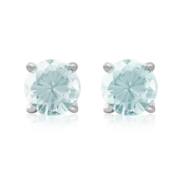 1/2 Carat Aquamarine Stud Earrings in 14k White Gold