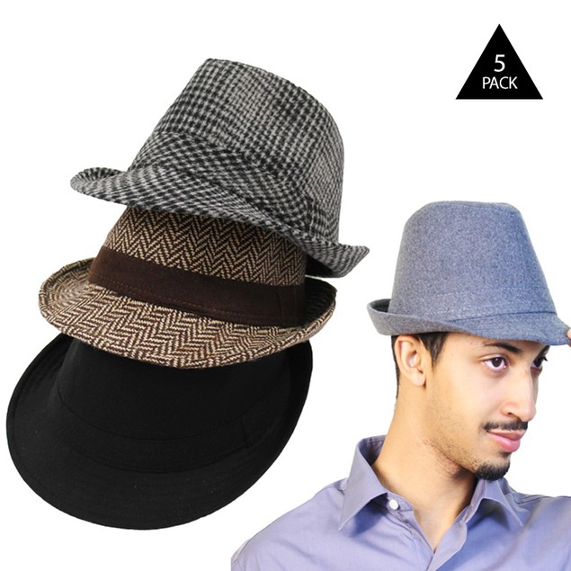 5-Pack: Men's Classic Fedora Hats