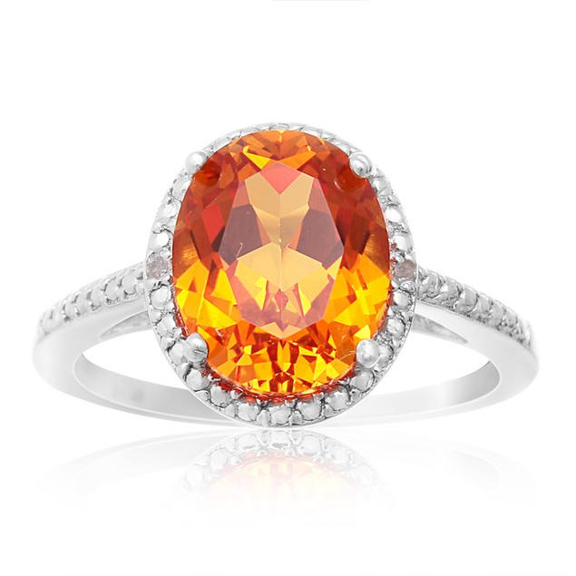 Created Padparadscha and Diamond Halo Ring