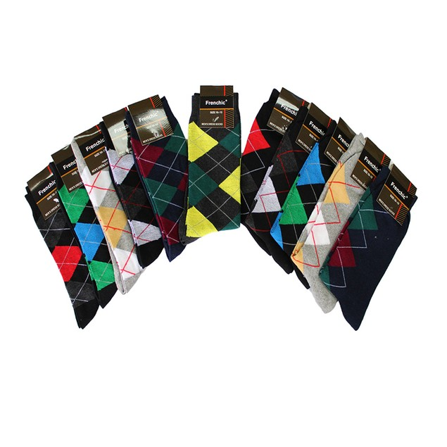 12 Pairs: Premium Fashion Printed Dress Socks