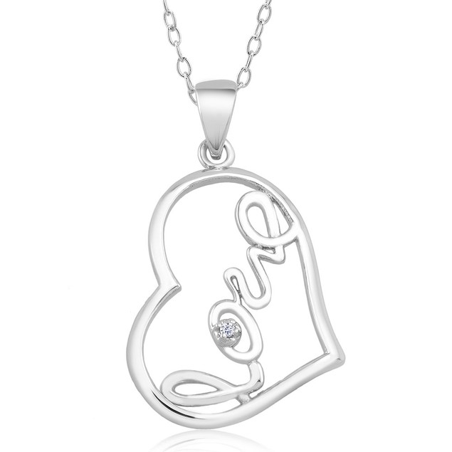 1/10 CTW Diamond Accent Necklace - Side Love