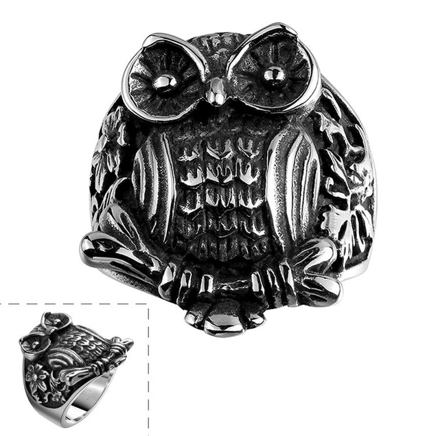 Stainless Steel Owl's Emblem Ring