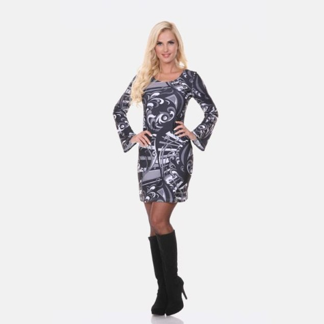 White Mark Guilana Long Sleeve Black Print Dress