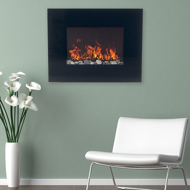 Northwest Black Glass Panel Electric Fireplace Wall Mount & Remote