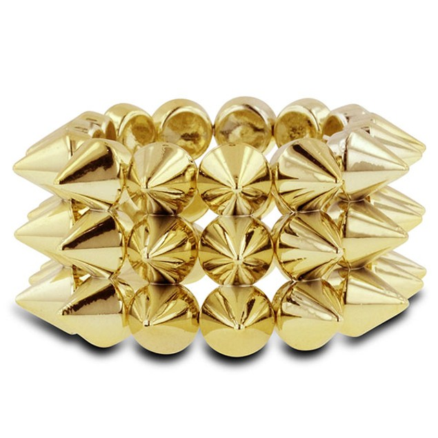 Gold Tone Spike Stretch Bracelet