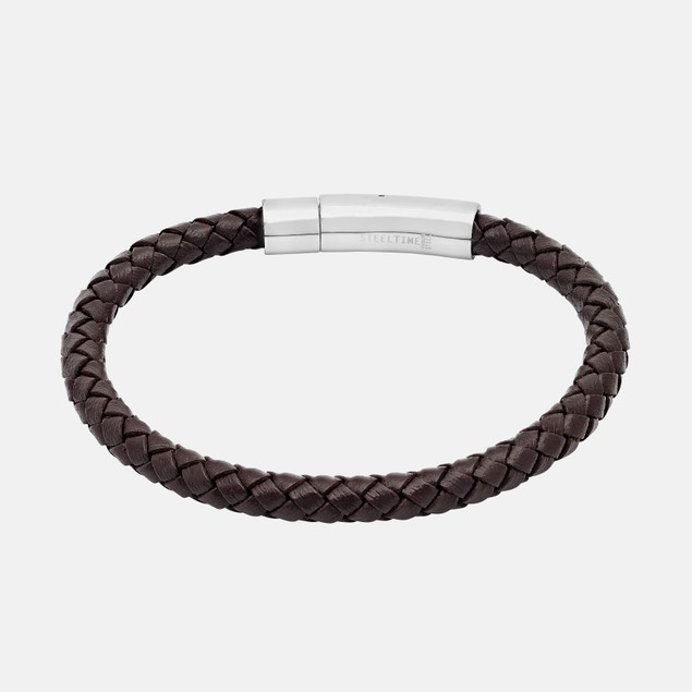 Men's Braided Brown Genuine Leather Bracelet