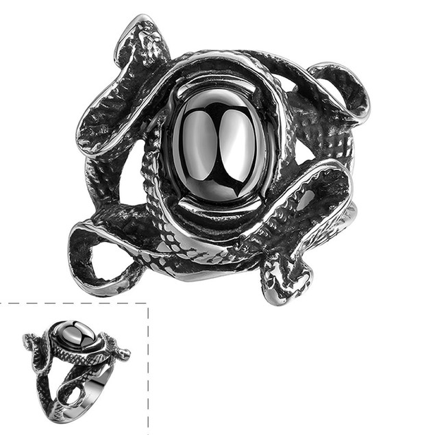 Abstract Black Gem Stainless Steel Ring