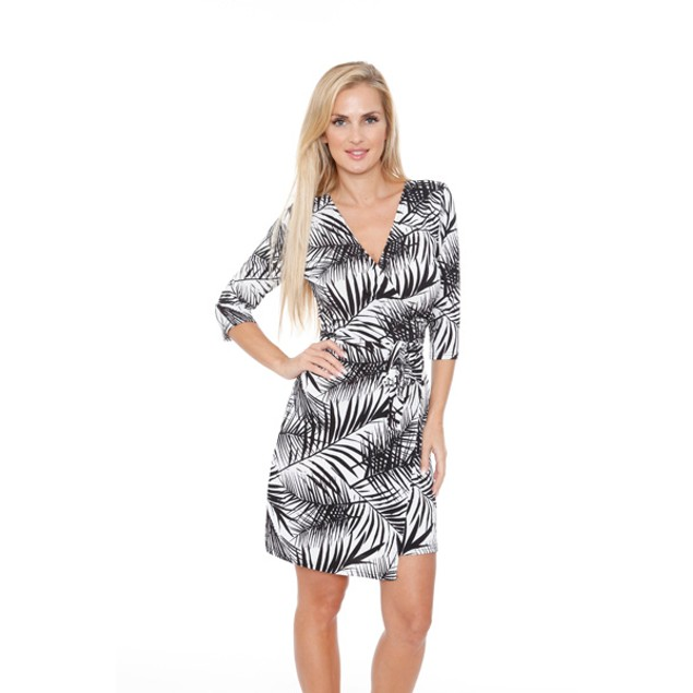 White Mark Women's 'Mariah' Wrap Dress - Hawaiian