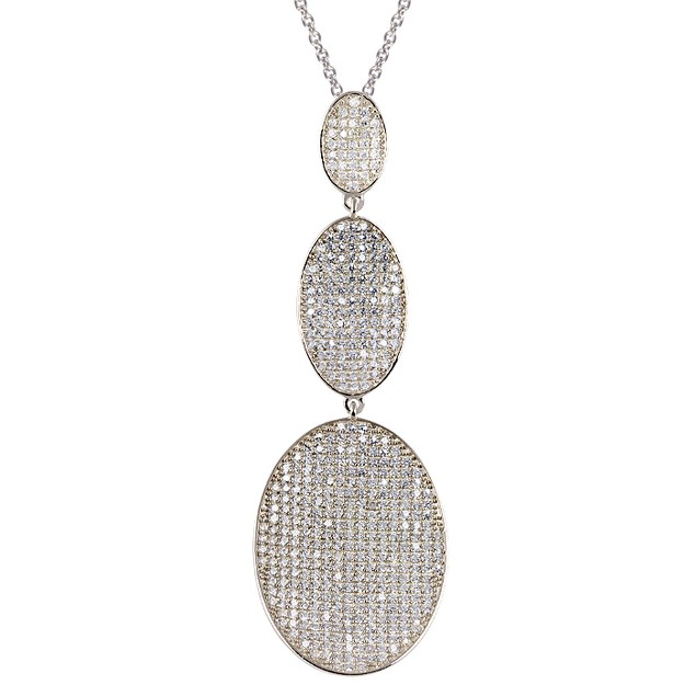 Sterling Silver Simulated Diamond Micro Pave Triple Tier Oval Necklace