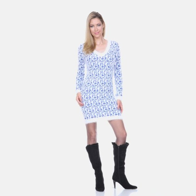 White Mark Blue Leopard Sweater Dress