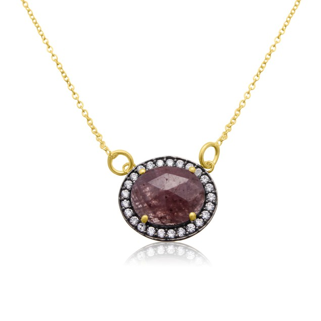 13 Carat Natural Red Sapphire  Necklace In 18 Karat Gold Over Silver