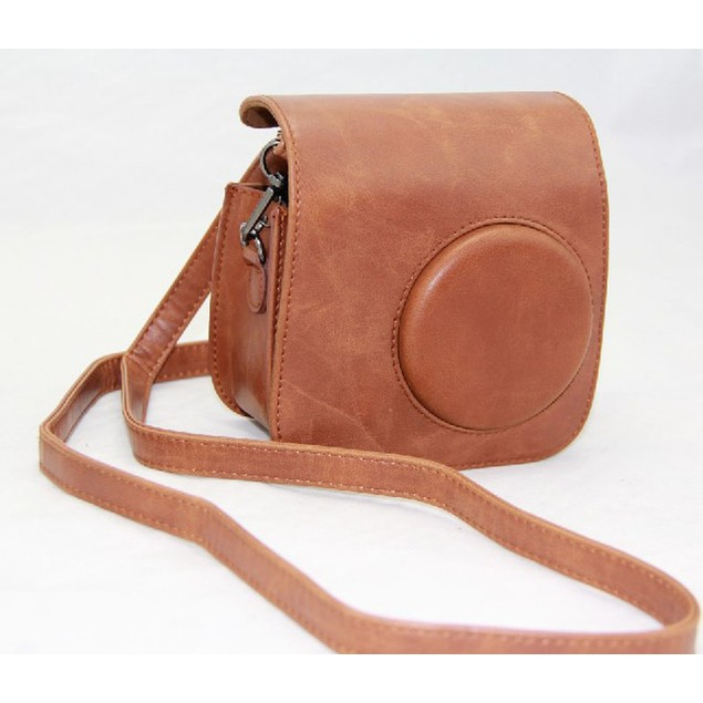 PU Leather Brown Camera Case Bag Holder For FUJIFILM Instax Mini 7s