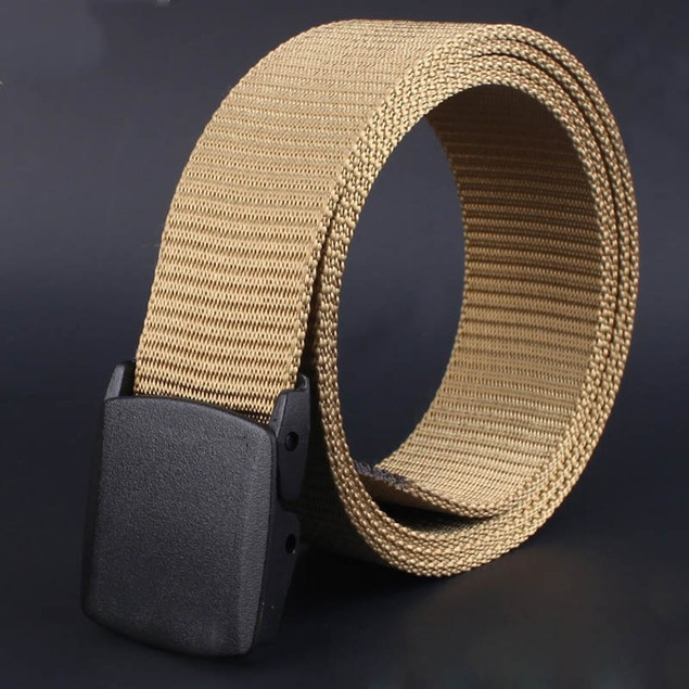 Men's Canvas Belt with Plastic Automatic Buckle - 5 Colors